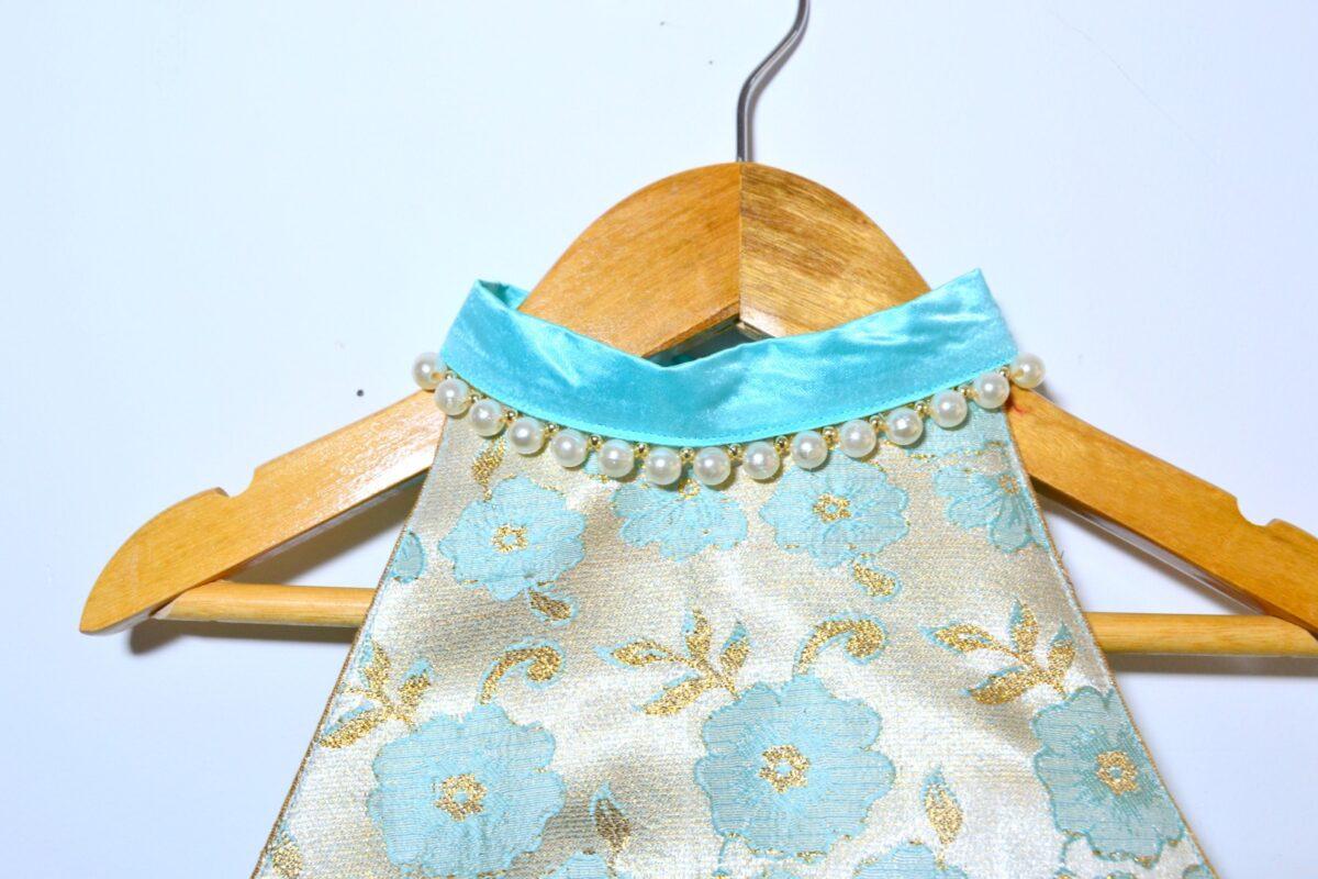 DSC 0009 TBT Brocade Net Layered Lehenga Choli- Turquoise