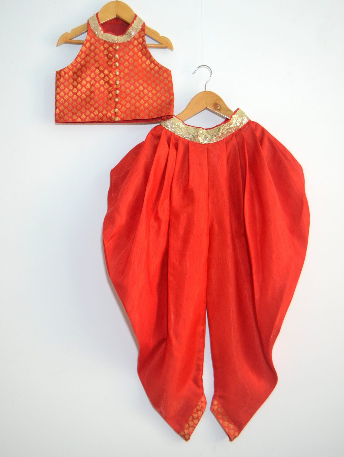DSC 0054 TBT Chinese Collar Crop Top and Dhoti Set - Red