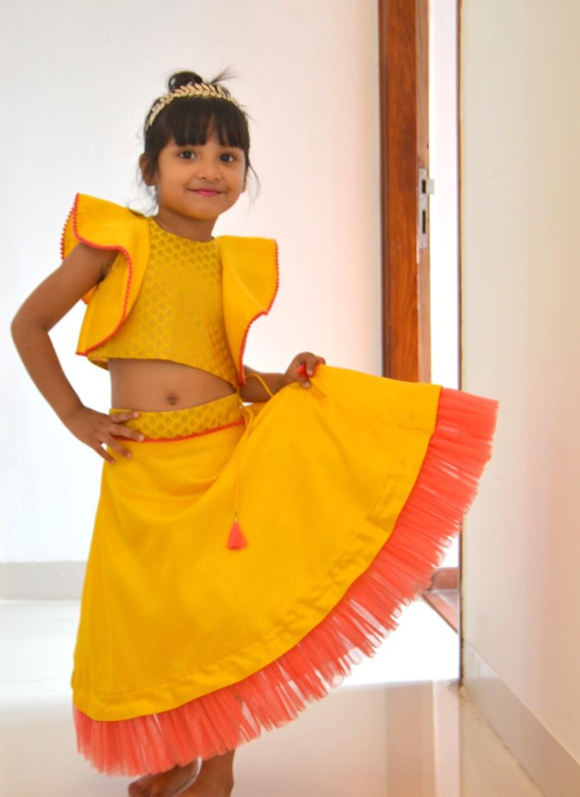 DSC 0558 TBT Ruffle Crop Top and Skirt Set- Yellow
