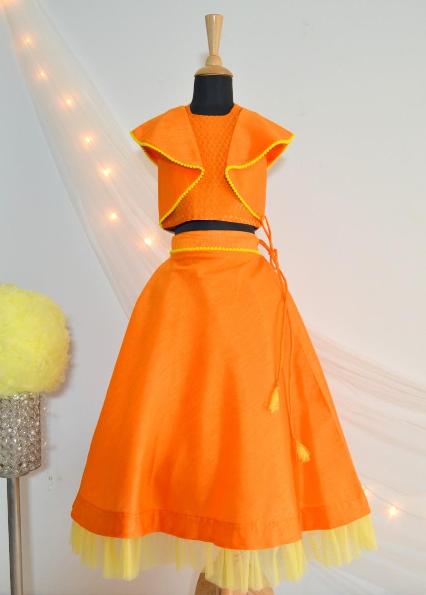DSC 0678 TBT Ruffle Crop Top and Skirt Set- Orange