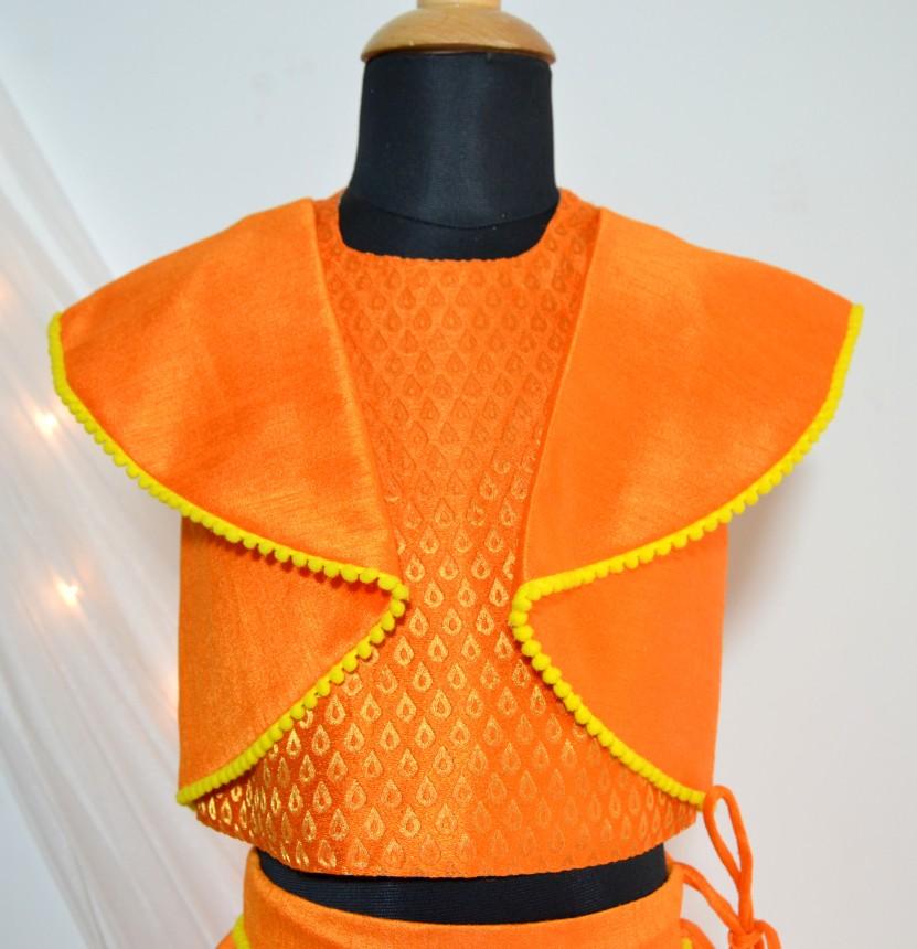 DSC 0679 TBT Ruffle Crop Top and Skirt Set- Orange