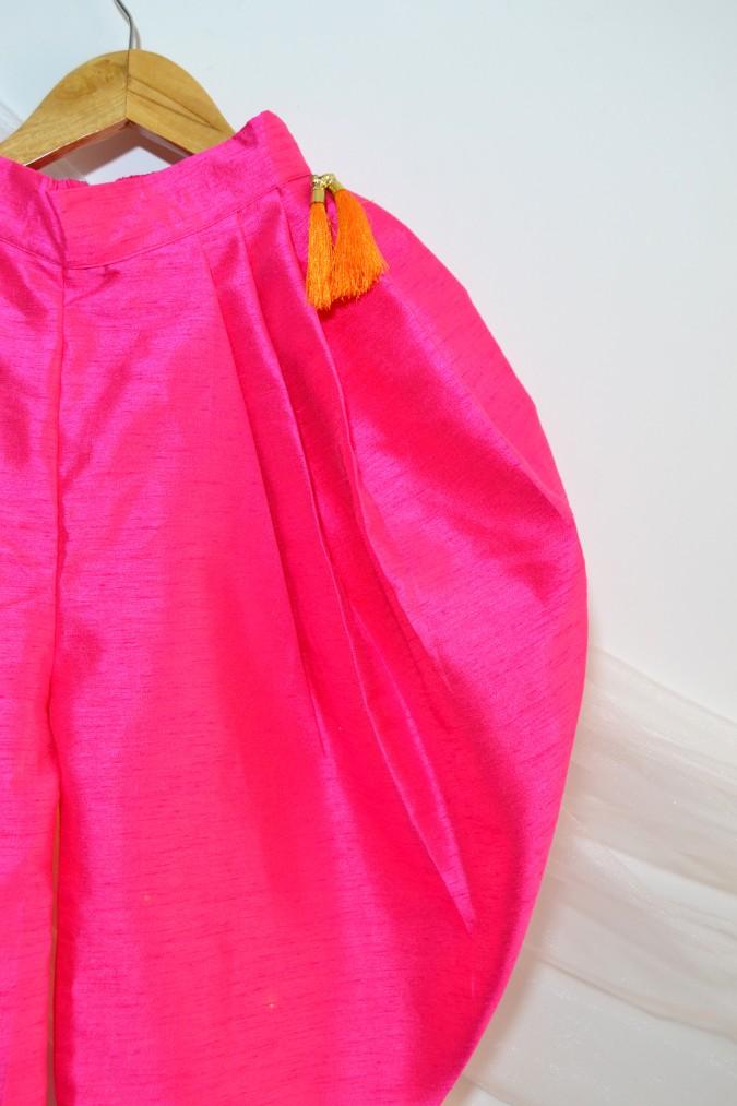 DSC 0707 TBT Peplum Crop Top and Dhoti Set- Orange & Pink
