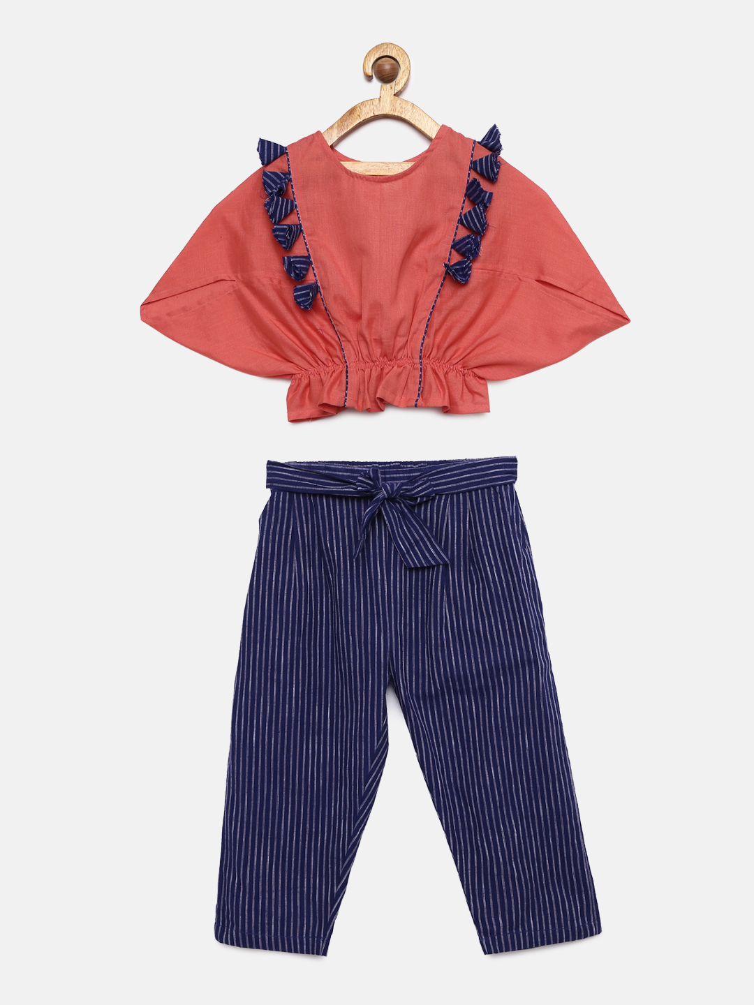 1 1 Baloon Tops with Triangular Sleeves and Stripped Trouser- Coral and Blue