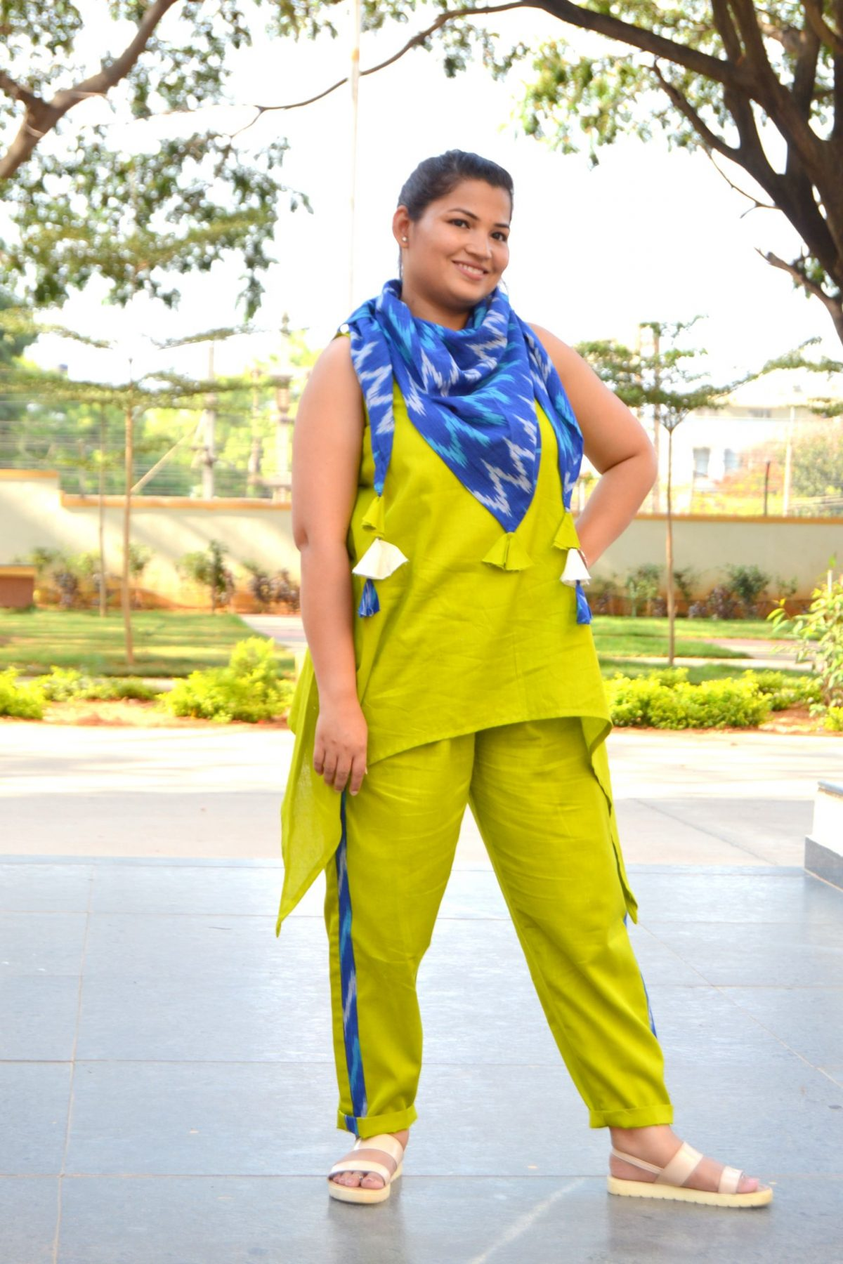 DSC 0265 Asymmetric Top Trouser Set with Ikat Scarf for Mom and Girl- Green and Blue