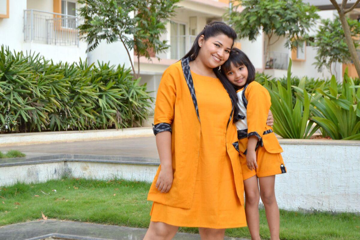 DSC 0314 1 Girl Tassel Top with Ikat Blazer, Shorts & Mom Ikat Blazer with Dress - Mustard and Beige