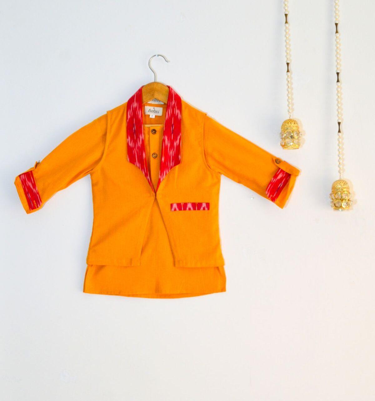 DSC 0054 Short Kurta with Ikat Jacket and Pant