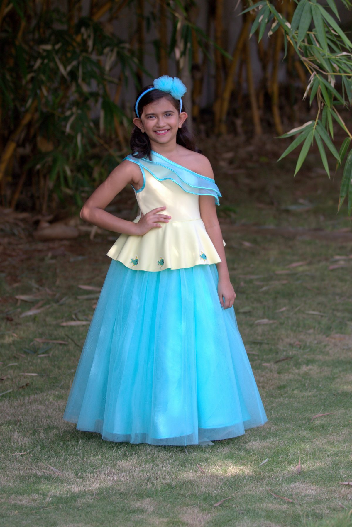 0H0A3490.CR2 scaled One Shouldered Fish Gown with attached Ruffle Sash