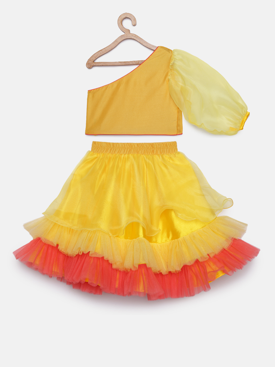 2 7 Yellow One Sleeves Sequins Choli with tiered lehenga and belt bag
